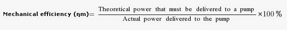 Mechanical efficiency of a centrifugal pump