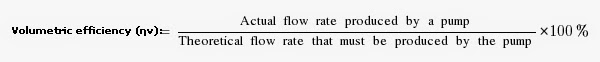 Volumetric efficiency of a centrifugal pump