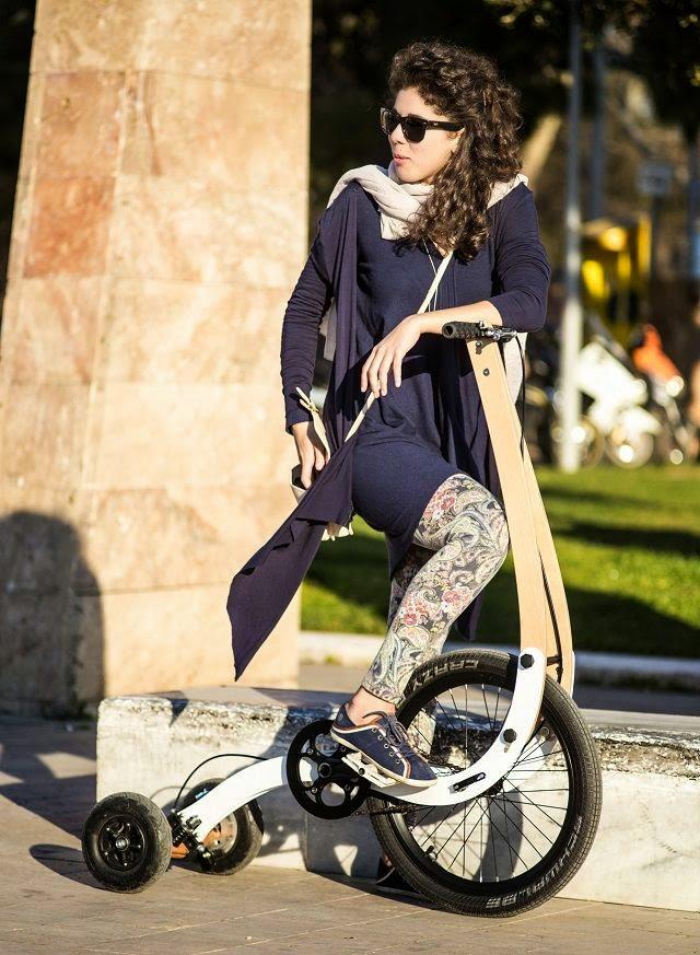 Halfbike on city streets