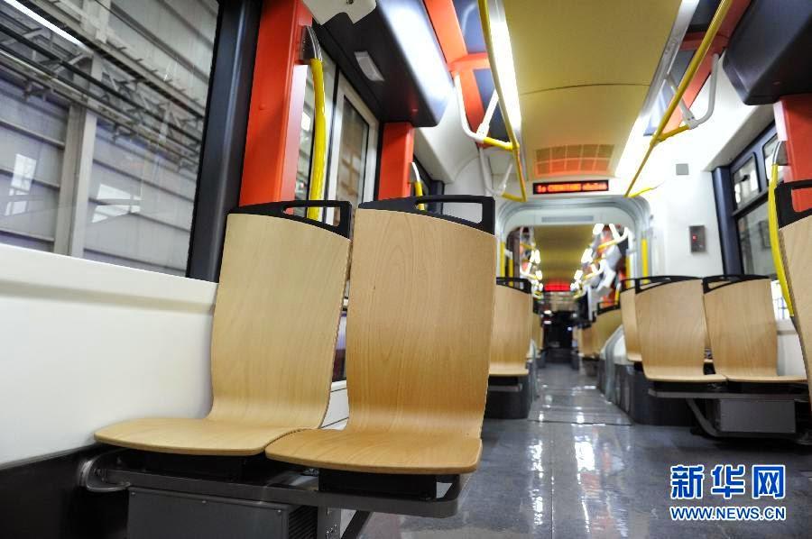Inside seats of tram