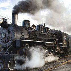 Steam locomotive train an example of external combustion engines