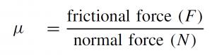 Friction coefficient formula