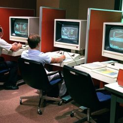 A view of a Computer Aided Manufacturing (CAD/CAM) system graphic terminals in use at Letterkenny Army Depot