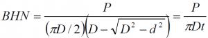 Brinell Hardness equation