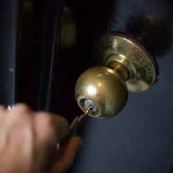 Key in black door