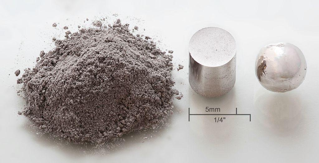 metal powder, pressed pellet, remelted