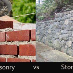 differences between Brick masonry and stone masonry